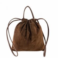 Замшевая женская сумка мешок 2306 коричневая
