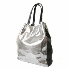 Серебристая кожаная сумка женская без подкладки 3002