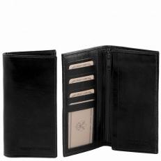 Черный кожаный бумажник ручной работы