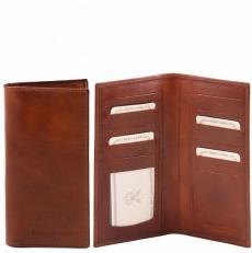 Эксклюзивный вертикальный кожаный бумажник двойного сложения