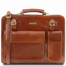 VENEZIA - Кожаный кейс для документов из рыжей кожи