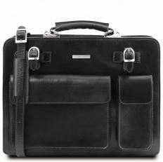 VENEZIA - Мужской кожаный черный портфель