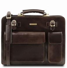 VENEZIA - Мужской кожаный портфель темно-коричневый