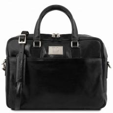 URBINO - Черный кожаный портфель для ноутбука