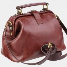 Кожаный саквояж W0013 коричневый