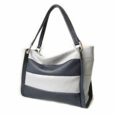 Кожаная сумка женская белая с синими полосками 3091