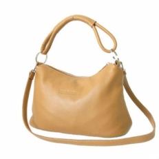 Маленькая кожаная сумка KSK 3382 бежевая