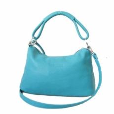 Маленькая кожаная сумка KSK 3382 голубая