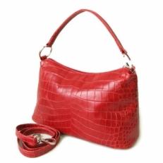 Кожаная женская сумка KSK 3282 красный крок