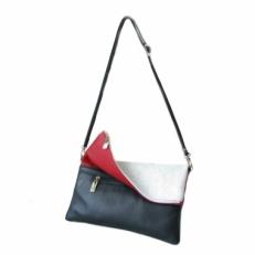 Сумка женская клатч на длинном ремешке  белый-синий-красный 8401