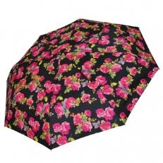 Женский зонт с розами на черном куполе 542F