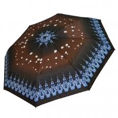 Зонт шоколадный с голубым узором 542F