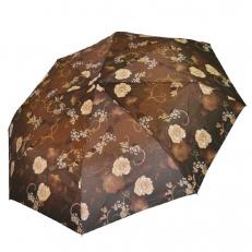 Зонт коричневый с бежевыми розами 542F
