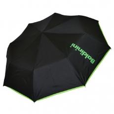 Женский зонт черный с салатовой окантовкой 30015