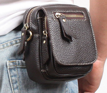 Genuine leather men messenger waist pack casual bag male mini small cross body leather bag