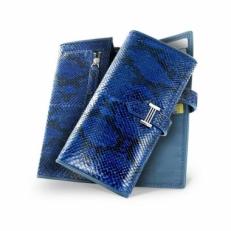 Портмоне из кожи питона, цвет: синий
