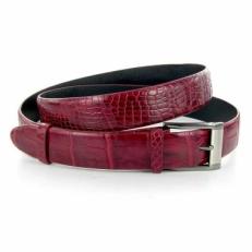 Ремень из кожи крокодила, унисекс, цвет: бордо