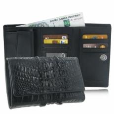 Мужской кошелек из кожи крокодила, цвет: черный