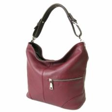 Кожаная сумка-мешок KSK 3213 бордовая